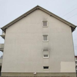 Schwarzalgen an einer Hausfassade